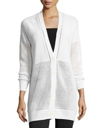 Vince Marled Textured Knit Cardigan White