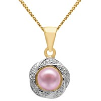 A B Davis 9Ct Gold Diamond And Freshwater Pearl Flower Pendant Necklace Pink