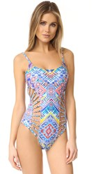 Red Carter Beauty And The Beach Cutout Swimsuit White Multi