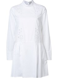 Suno Broderie Anglaise Flared Dress White