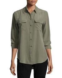 Equipment Silk Slim Signature Top Dusty Olive