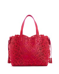Sophia Webster Liara Laser Cut Leather Butterfly Tote Bag Red Pink