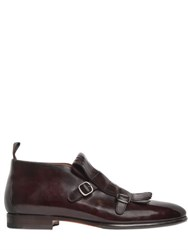 Santoni Fringed Leather Monk Strap Low Boots