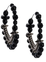 Givenchy Faceted Bead Statement Earrings Black