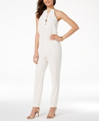 Material Girl Juniors' Lace Up Cutout Jumpsuit Created For Macy's Cloud Dancer