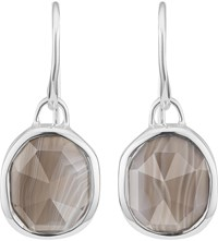 Monica Vinader Siren Sterling Silver And Grey Agate Wire Earrings