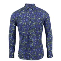 Lords Of Harlech Nigel Shirt In Navy Floral Blue Green