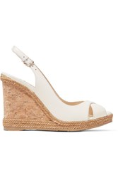 Jimmy Choo Amely 105 Leather Slingback Wedge Sandals White Gbp