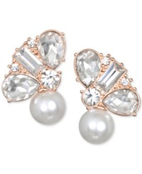 Jewel Badgley Mischka Crystal And Imitation Pearl Stud Earrings Rose Gold