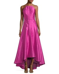 Phoebe Couture Paneled Crepe High Low Gown Fuchsia
