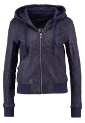 Oakwood Leather Jacket Blue Dark Blue