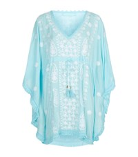 Melissa Odabash Embroidered Fringe Trim Short Kaftan Female Blue