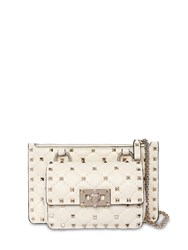 Valentino Garavani Mini Rockstud Spike Leather Shoulder Bag Light Ivory