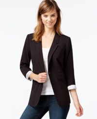 Kensie Three Quarter Sleeve Blazer Only At Macy's Black