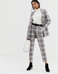 Selected Mika Cropped Check Trousers Grey Check