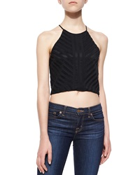 Parker Dawson Striped Cropped Tank Black
