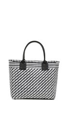 Truss Medium Tote With Leather Handle Black White
