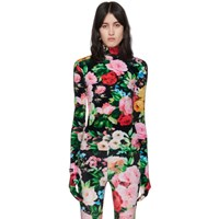 Richard Quinn Black Floral Turtleneck