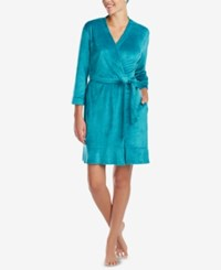 Ellen Tracy Ruffled Wrap Robe Aqua