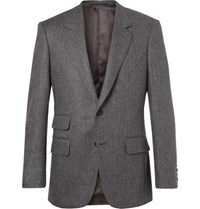 Kingsman Grey Slim Fit Herringbone Wool And Cashmere Blend Blazer Gray