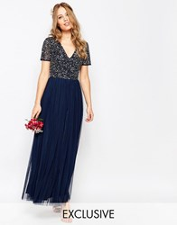 Maya V Neck Maxi Tulle Dress With Tonal Delicate Sequins Navy