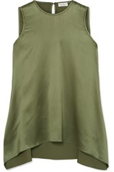 Brunello Cucinelli Bead Embellished Silk Blend Satin Top Green