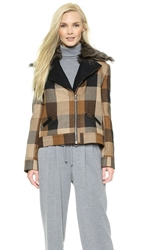 Rodarte Plaid Jacket With Shearling Black