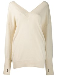 Tom Ford Oversized V Neck Jumper Neutrals