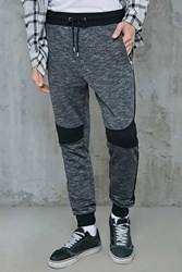 Forever 21 Colorblock Marled Knit Joggers Grey Black
