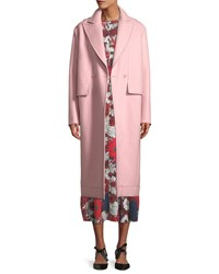 Cedric Charlier Peak Lapels Double Breasted Oversized Wool Coat Pink