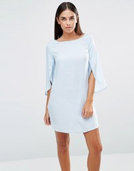 Ax Paris Split 3 4 Sleeve Chiffon Dress Blue