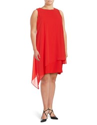 Tahari By Arthur S. Levine Plus Asymmetrical Overlay Sheath Dress Crimson Red