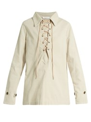 Chloe Lace Up Corduroy Shirt Cream