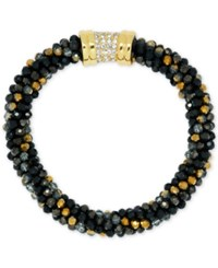 Anne Klein Bead And Crystal Pave Bracelet Jet
