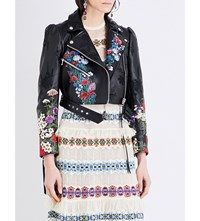 Alexander Mcqueen Floral Embroidered Leather Jacket Black Red Multi
