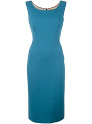 Dolce And Gabbana Fitted Midi Dress Blue