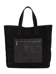 Calvin Klein Suede Tote Bag With Leather Pocket
