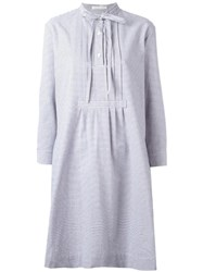 Peter Jensen Tie Neck Shirt Dress Grey