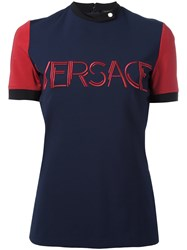 Versace Embroidered Logo Compact Jersey Blue
