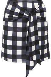 Mother Of Pearl Tie Front Checked Cotton And Silk Blend Mini Skirt Navy