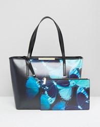 Ted Baker Crosshatch Shopper With Butterfly Print Black Multi