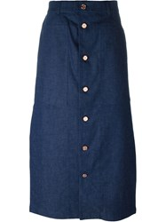 Julien David Button Up Skirt Blue