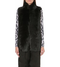 Whistles Leather Lined Sheepskin Gilet Black