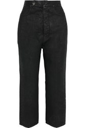 Rick Owens Cropped Coated High Rise Straight Leg Jeans Black