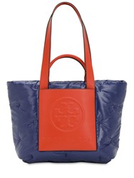 Tory Burch Logo Padded Nylon And Leather Tote Bag Blue