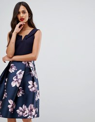 Ax Paris Bardot Prom Dress With Contrast Skirt Navy