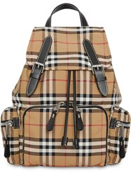 Burberry The Medium Rucksack In Vintage Check Nylon Neutrals