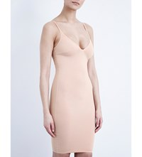Wolford Deep Plunge Stretch Cotton Dress Rose Tan