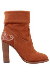 Etro Woman Embroidered Suede Ankle Boots Tan