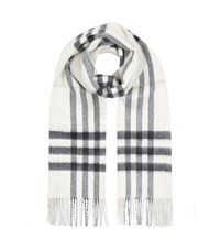 Burberry Shoes And Accessories Reversible Metallic Check Cashmere Scarf Female White